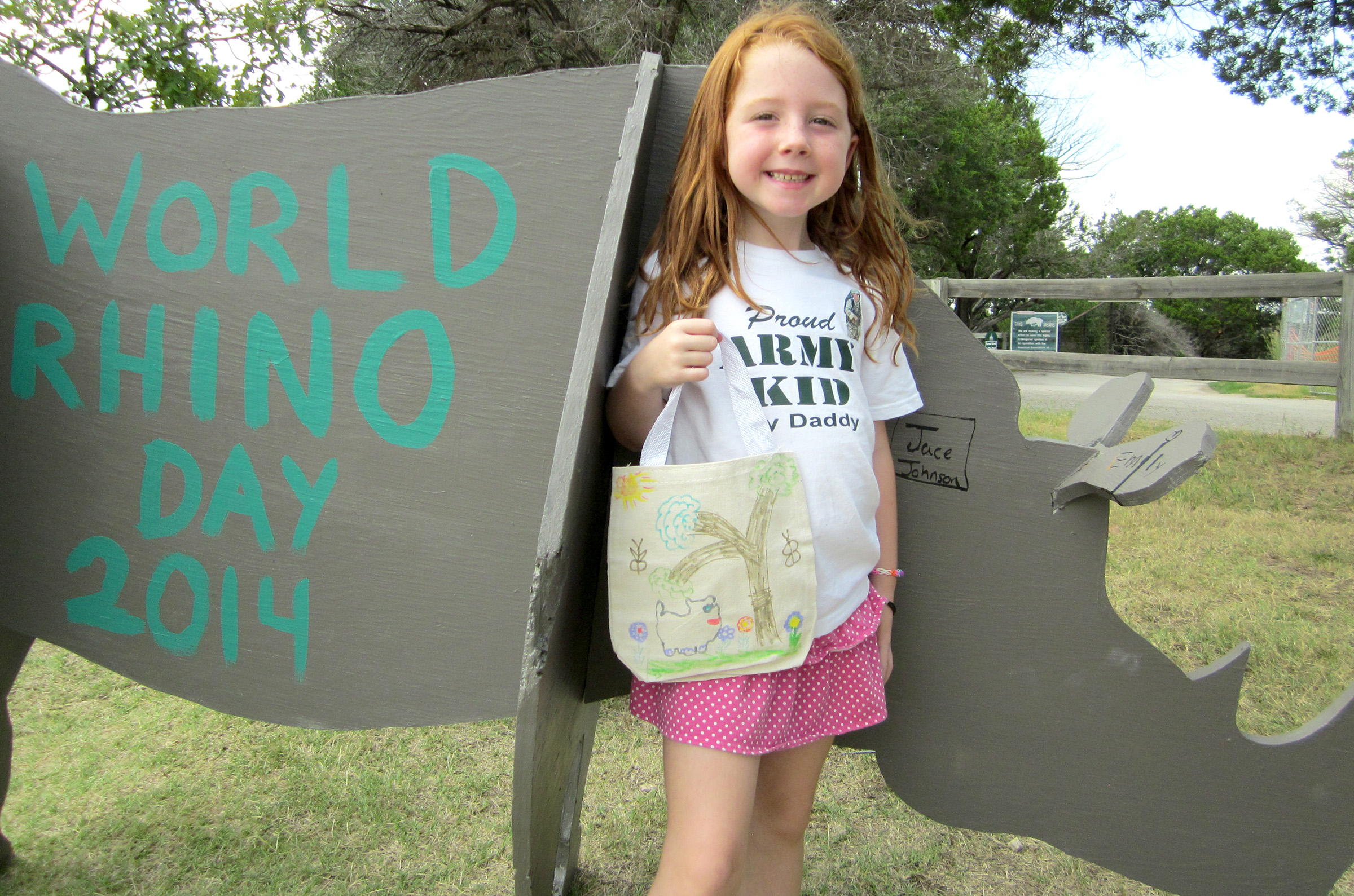 world rhino day little girl