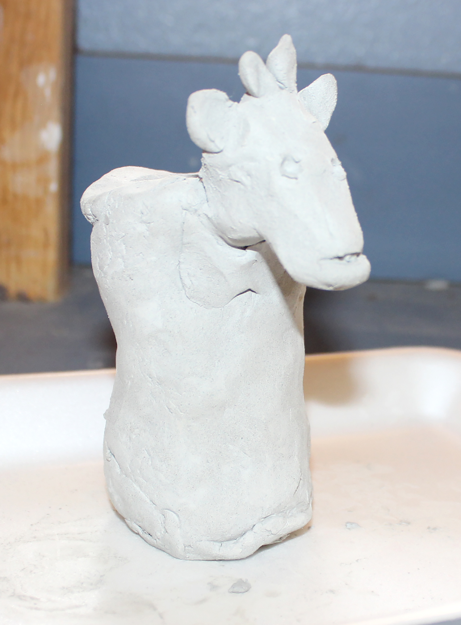 clay sculpture pencil holder